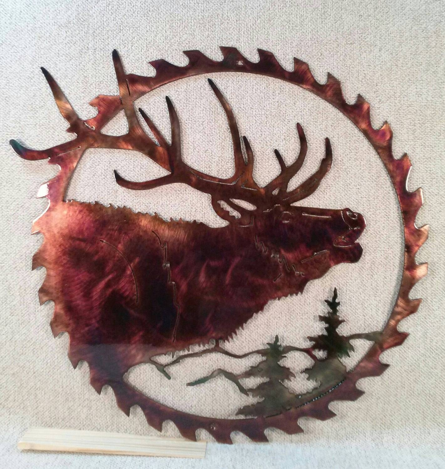 North American Elk Hunting & Fishing Lodge Sawblade Indoor Or Regarding Best And Newest Elk Metal Wall Art (View 18 of 20)