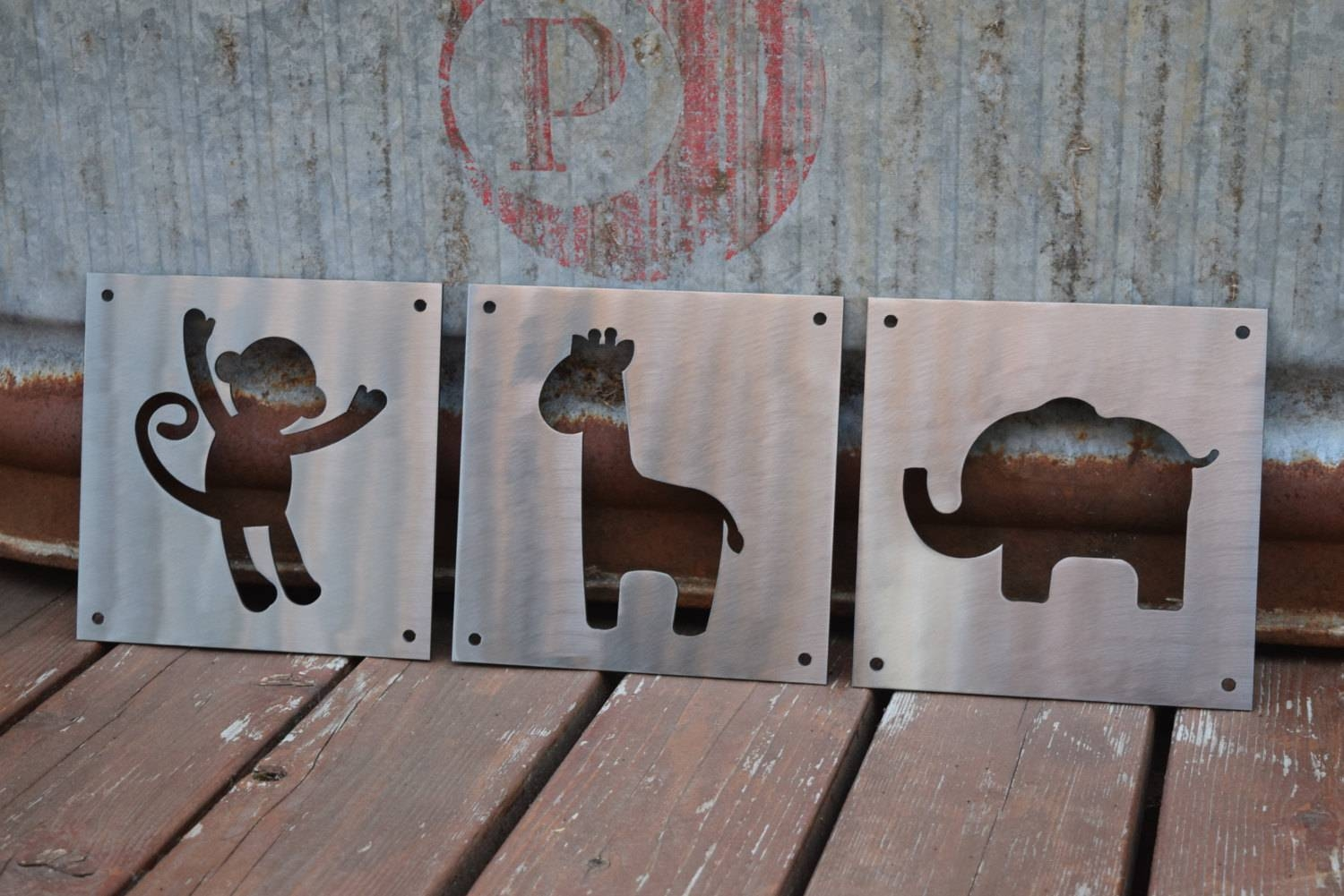 Nursery Animals Metal Signs, Child Animals, Nursery, Nursery Room For Most Up To Date Metal Wall Art Animals (View 9 of 20)