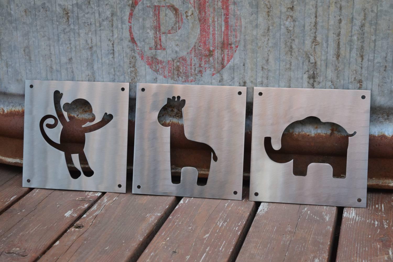 Nursery Animals Metal Signs, Child Animals, Nursery, Nursery Room for Most Up-to-Date Metal Wall Art Animals