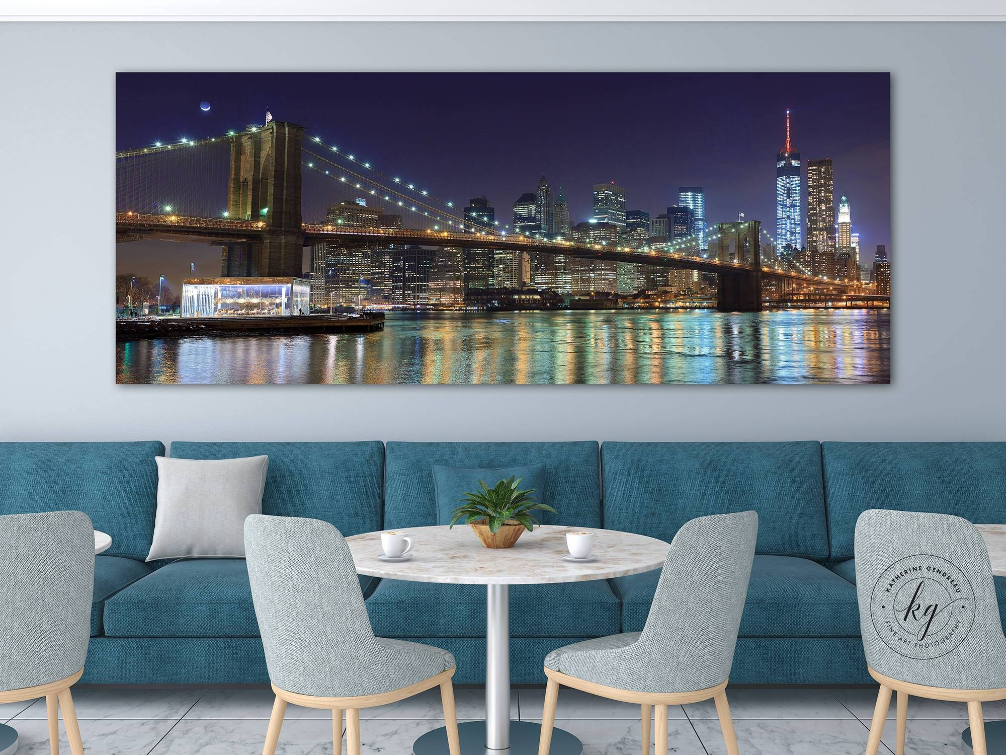 Nyc Panorama Photo Metal Print Brooklyn Bridge New York City Within Most Recently Released New York City Skyline Metal Wall Art (View 10 of 20)