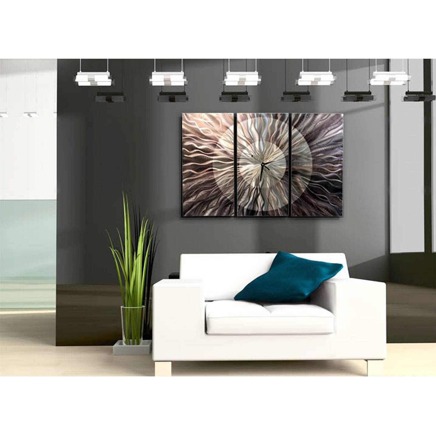 Obsidian Burst Clock – Electric & Unique Silver Metal Wall Clock In Latest 3 Piece Metal Wall Art (View 15 of 20)
