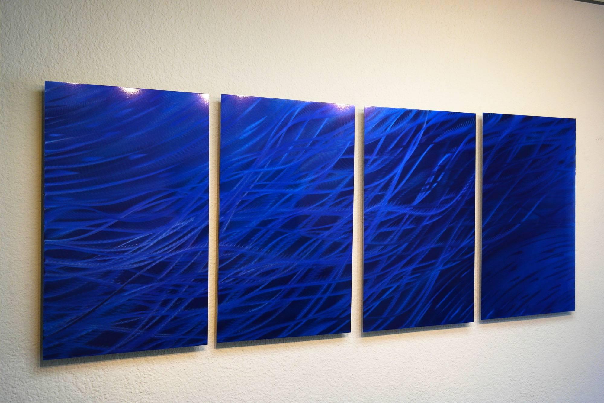 Ocean Dark Blue – Metal Wall Art Abstract Sculpture Modern Decor In Most Popular Blue Metal Wall Art (View 11 of 20)