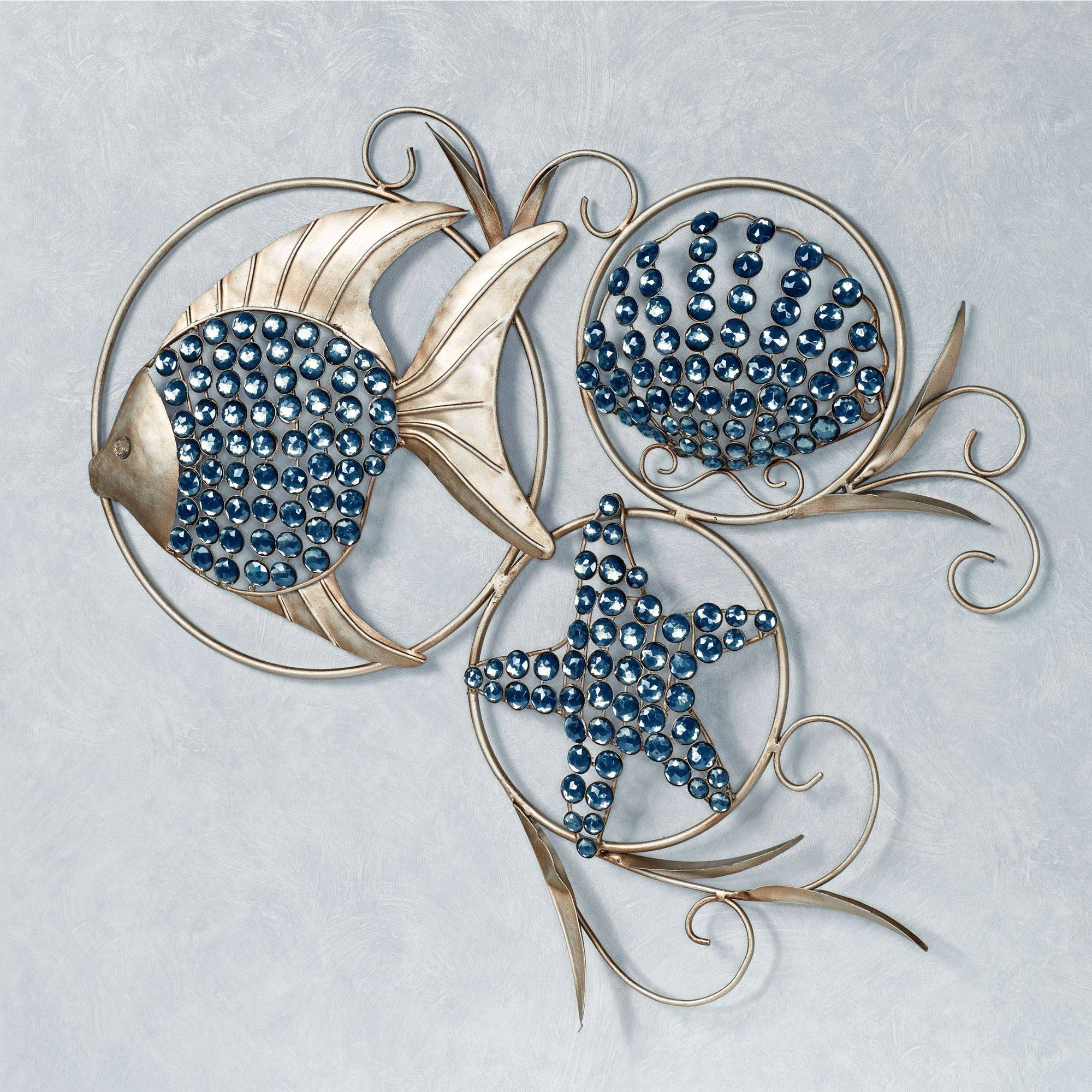 Ocean Gems Fish And Seashell Metal Wall Art with Best and Newest Coastal Metal Wall Art