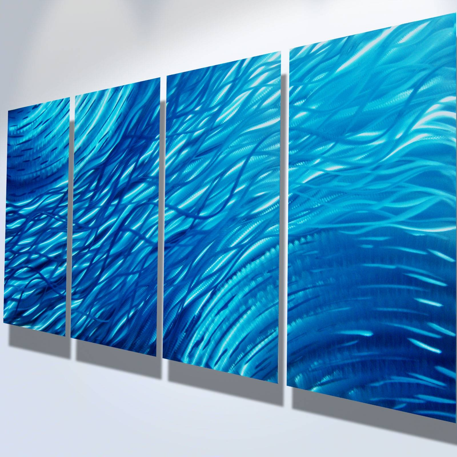 Ocean Metal Wall Art Abstract Contemporary Modern Decor Intended For Most Recently Released Blue Metal Wall Art (Gallery 4 of 20)