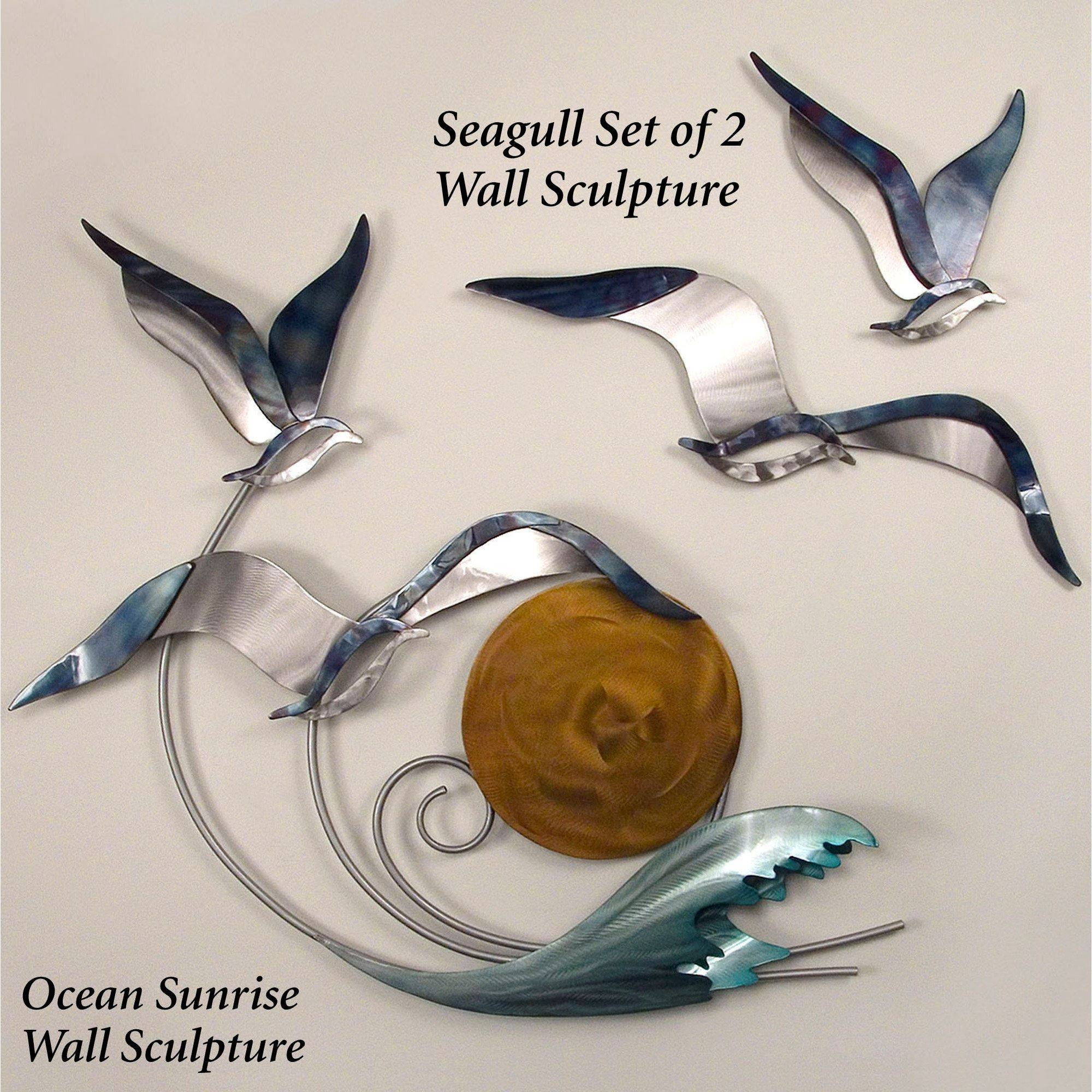 Ocean Sunrise Indoor Outdoor Metal Wall Sculpture Inside 2018 Seagull Metal Wall Art (View 2 of 20)
