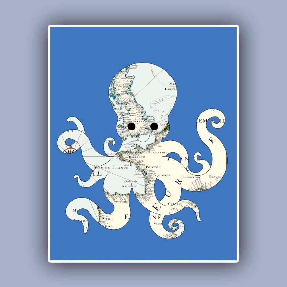 Octopus Map Art Print Nautical Map Print Marine Wall Decor In Latest Nautical Map Wall Art (View 14 of 20)