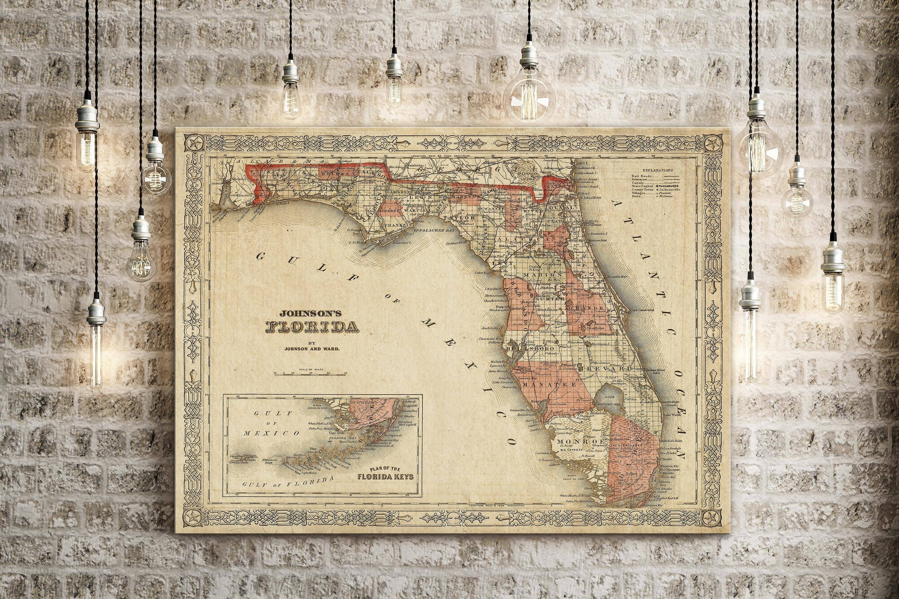Old Florida Map 1863 Johnson's Map Of Florida Restoration Pertaining To Most Recently Released Florida Map Wall Art (Gallery 13 of 20)
