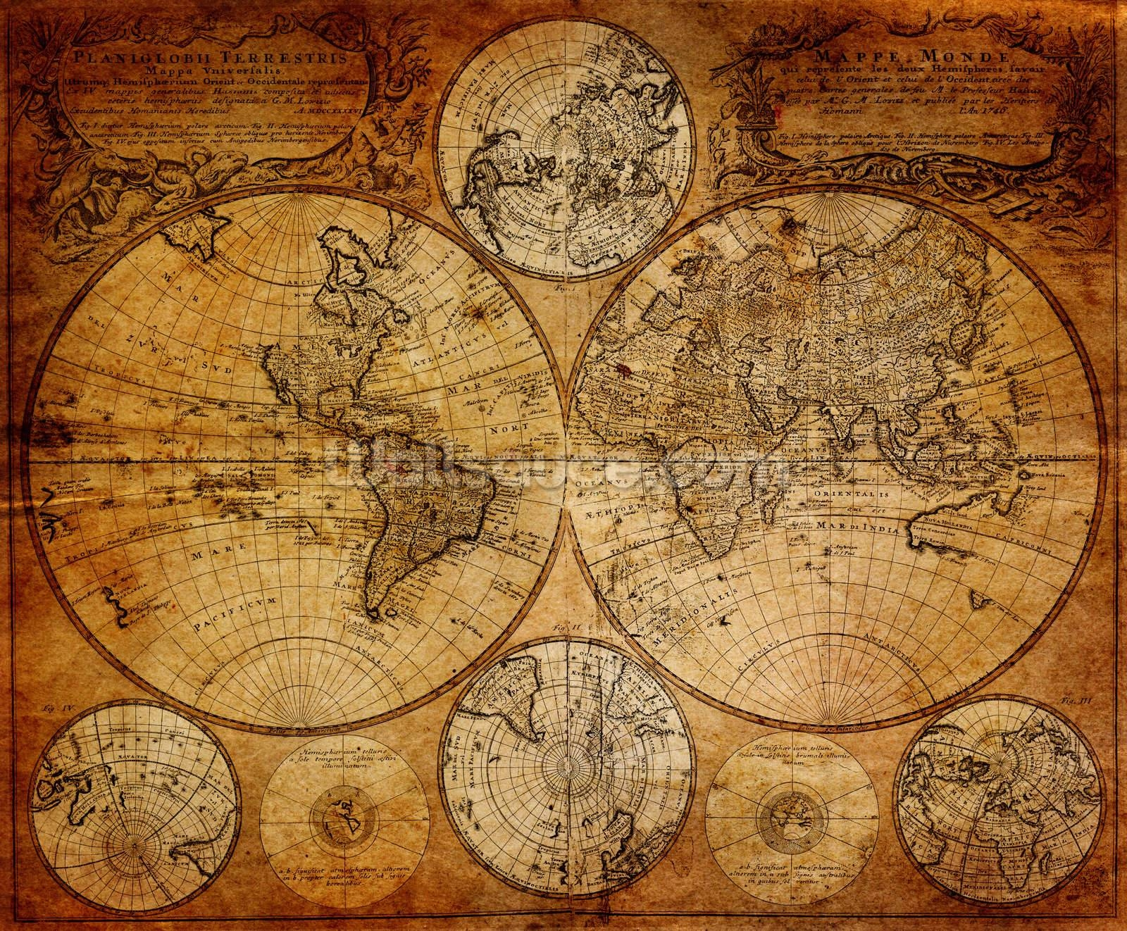 Old Globe Map 1746 Wallpaper Wall Mural | Wallsauce Usa Pertaining To 2017 Old Map Wall Art (View 7 of 20)