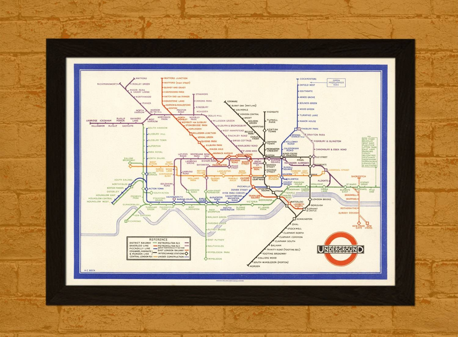 Old London's Underground Map 1933 Ancient Map Wall Art With Regard To Most Up To Date London Tube Map Wall Art (Gallery 13 of 20)