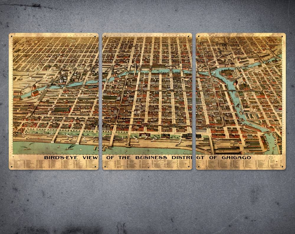 Old Map Of Chicago Metal Triptych 34 X 17 Free Shipping Regarding Most Recently Released Chicago Map Wall Art (View 18 of 20)