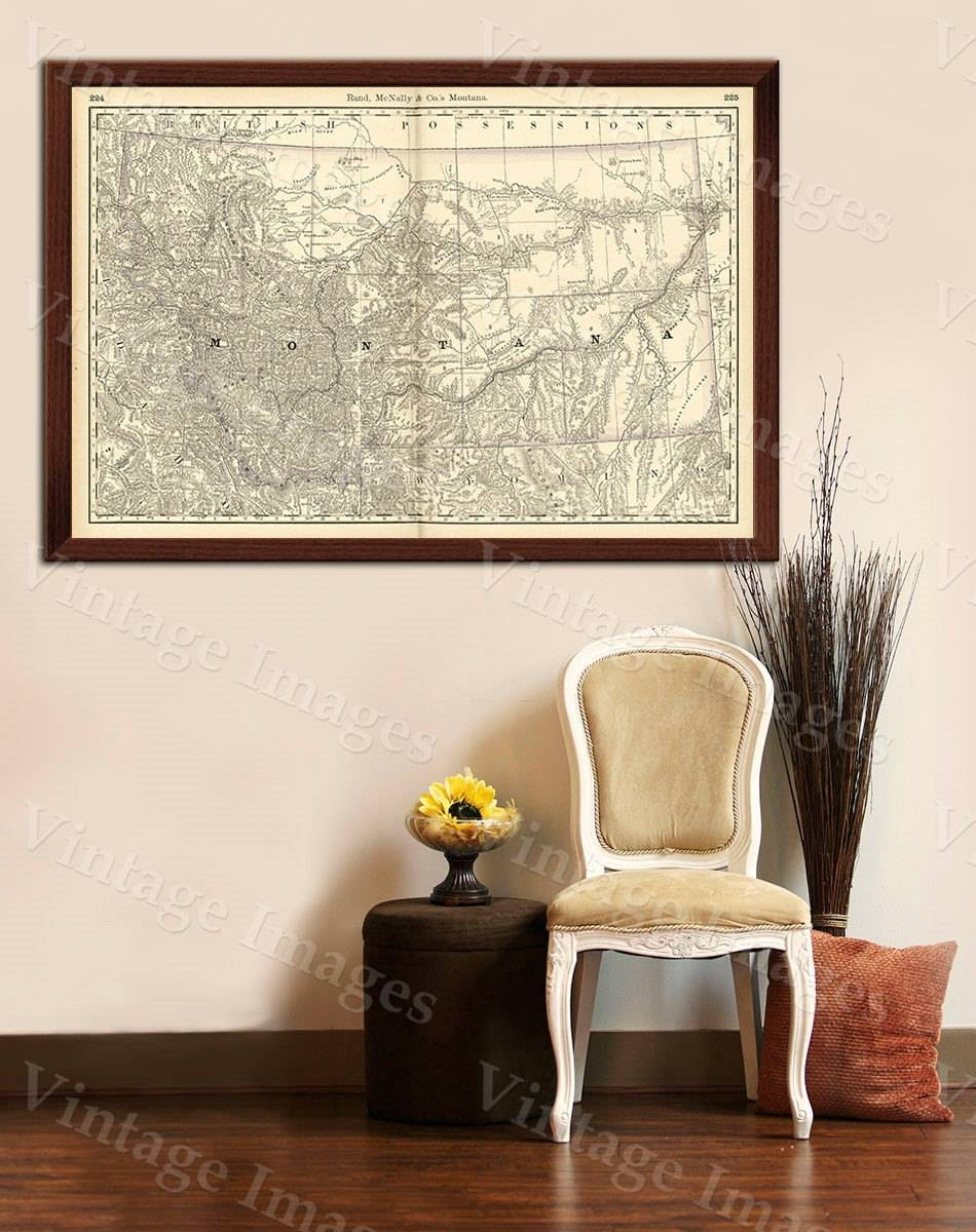 Old Map Of Montana Montana Art 1888 Antique Restoration Hardware Intended For Recent Old Map Wall Art (View 17 of 20)