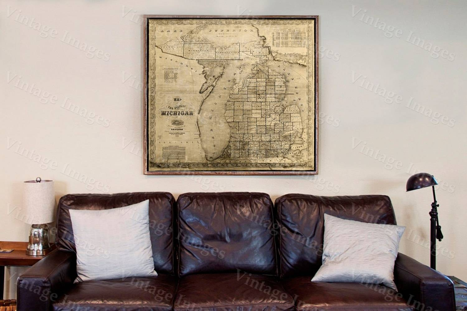 Old Michigan Map, Vintage 1856 Old Map Of Michigan Old Antique With Regard To Newest Lake Map Wall Art (View 14 of 20)