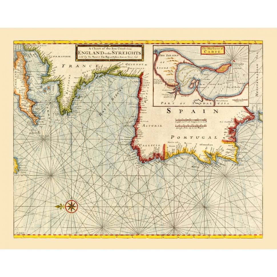 Old Nautical Map Of The Atlantic Coast For Wall Decor Intended For Newest Nautical Map Wall Art (View 18 of 20)