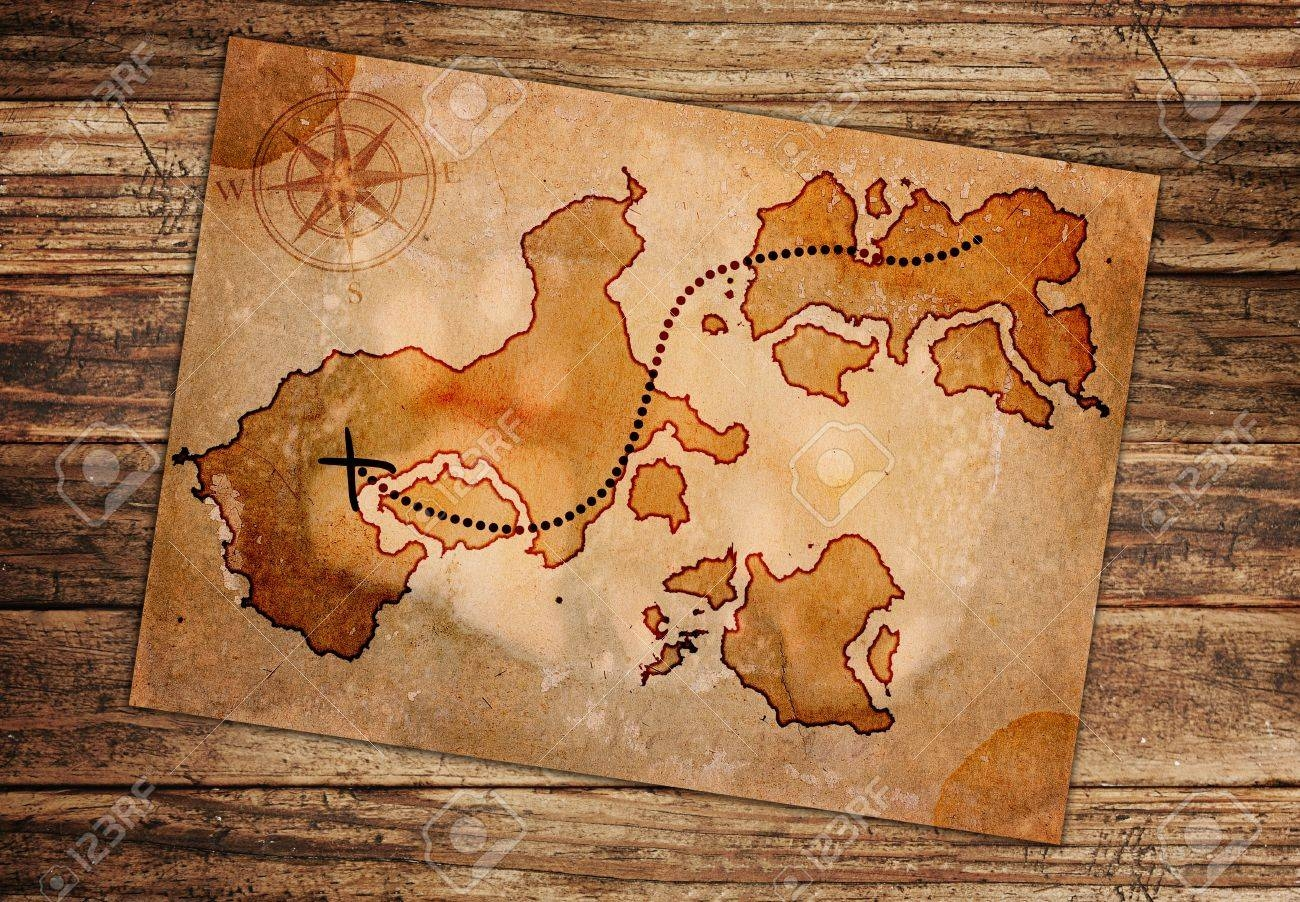 Old Treasure Map, Isolated On A White Background Stock Photo throughout Most Up-to-Date Treasure Map Wall Art