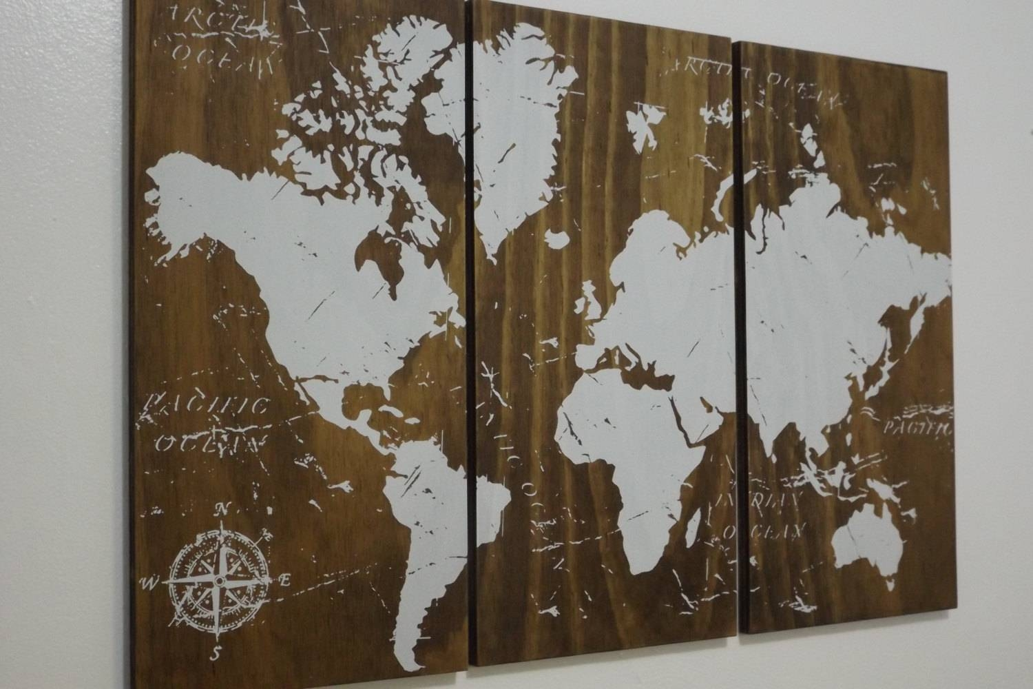 Old World Map Push Pin Travel Map Solid Wood Wall Art Regarding Most Recently Released Custom Map Wall Art (View 3 of 20)