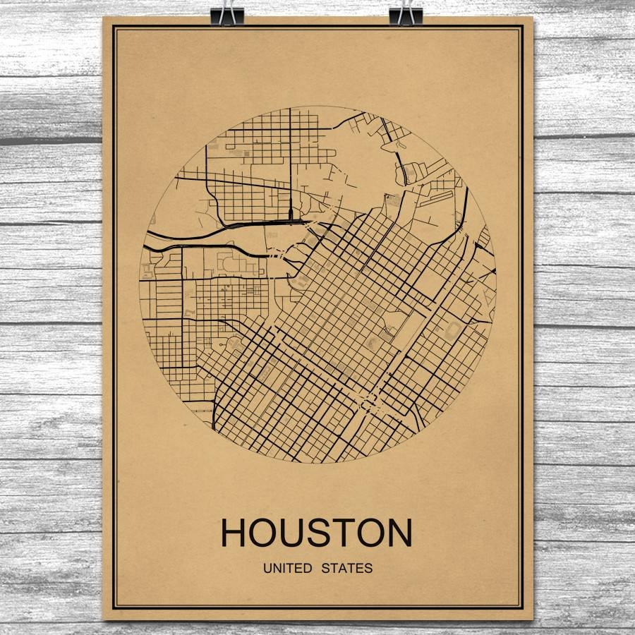 Online Buy Wholesale Wall Sticker Houston From China Wall Sticker For Most Current Houston Map Wall Art (View 13 of 20)