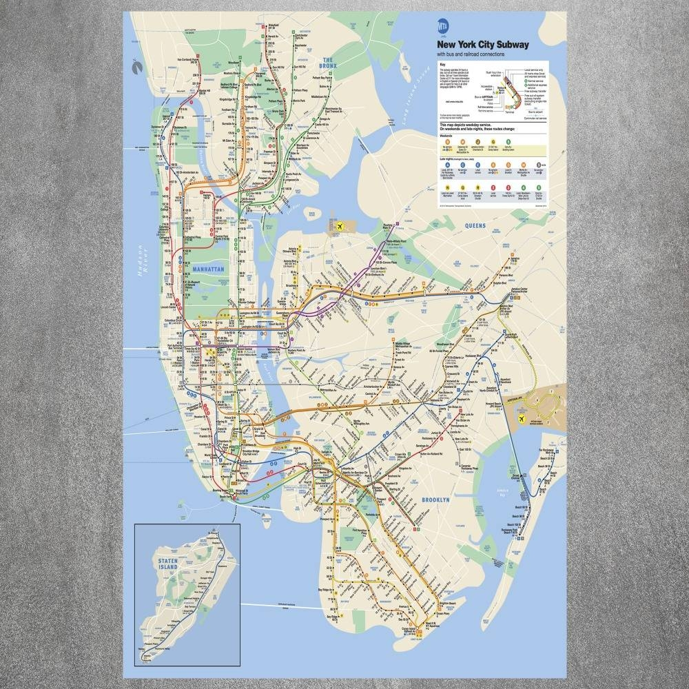 Online Shop New York City Subway Map Modern Poster Art Wall Inside 2017 Nyc Subway Map Wall Art (View 17 of 20)