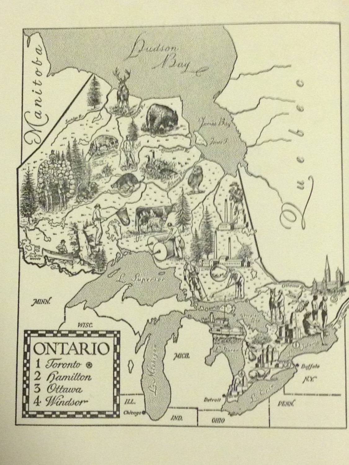 Ontario Map Wall Art Print / Map Of Canada / World Travel In Latest Toronto Map Wall Art (Gallery 19 of 20)