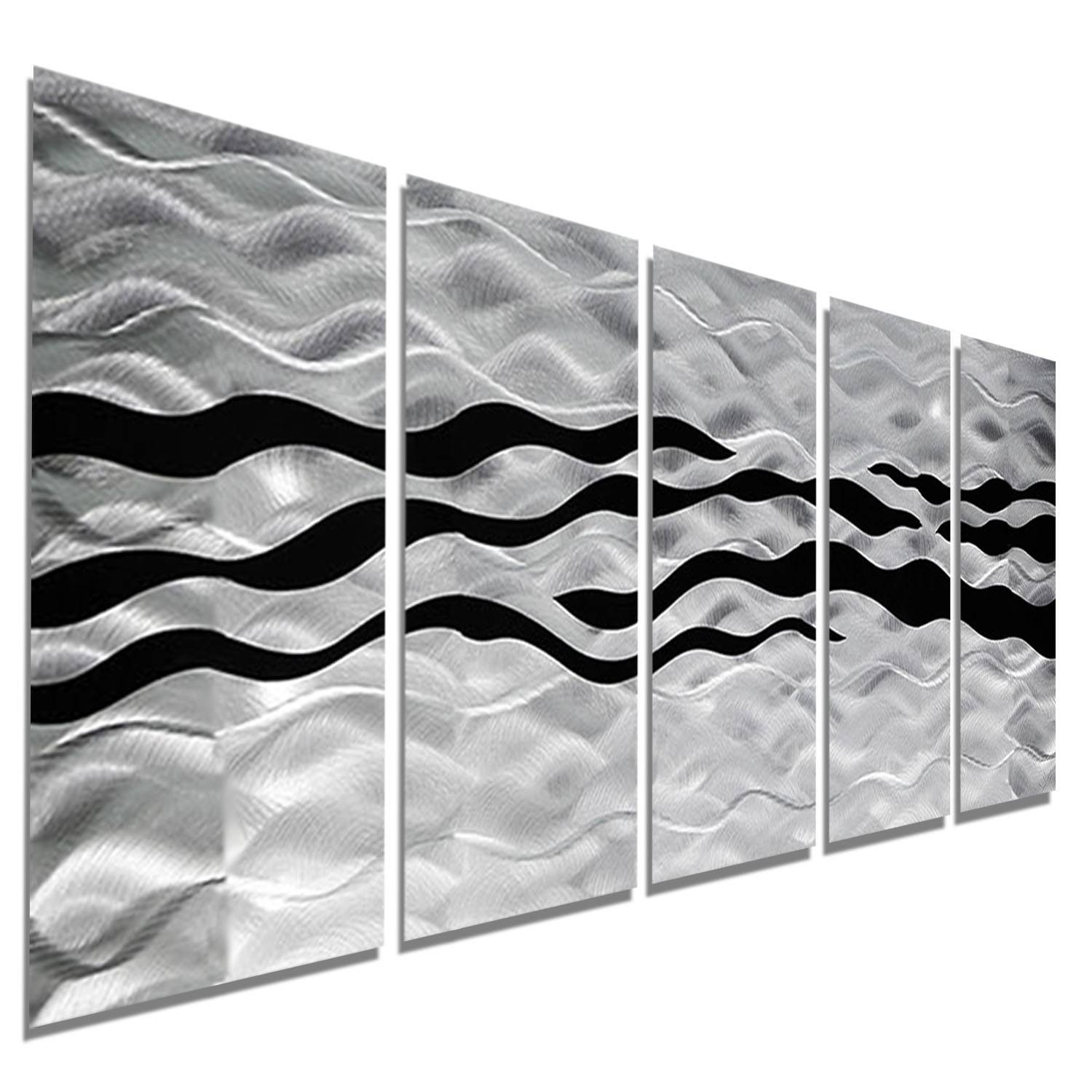 Onyx Oceana - Silver And Black Metal Wall Art - 5 Panel Wall Décor inside Current Black And Silver Metal Wall Art