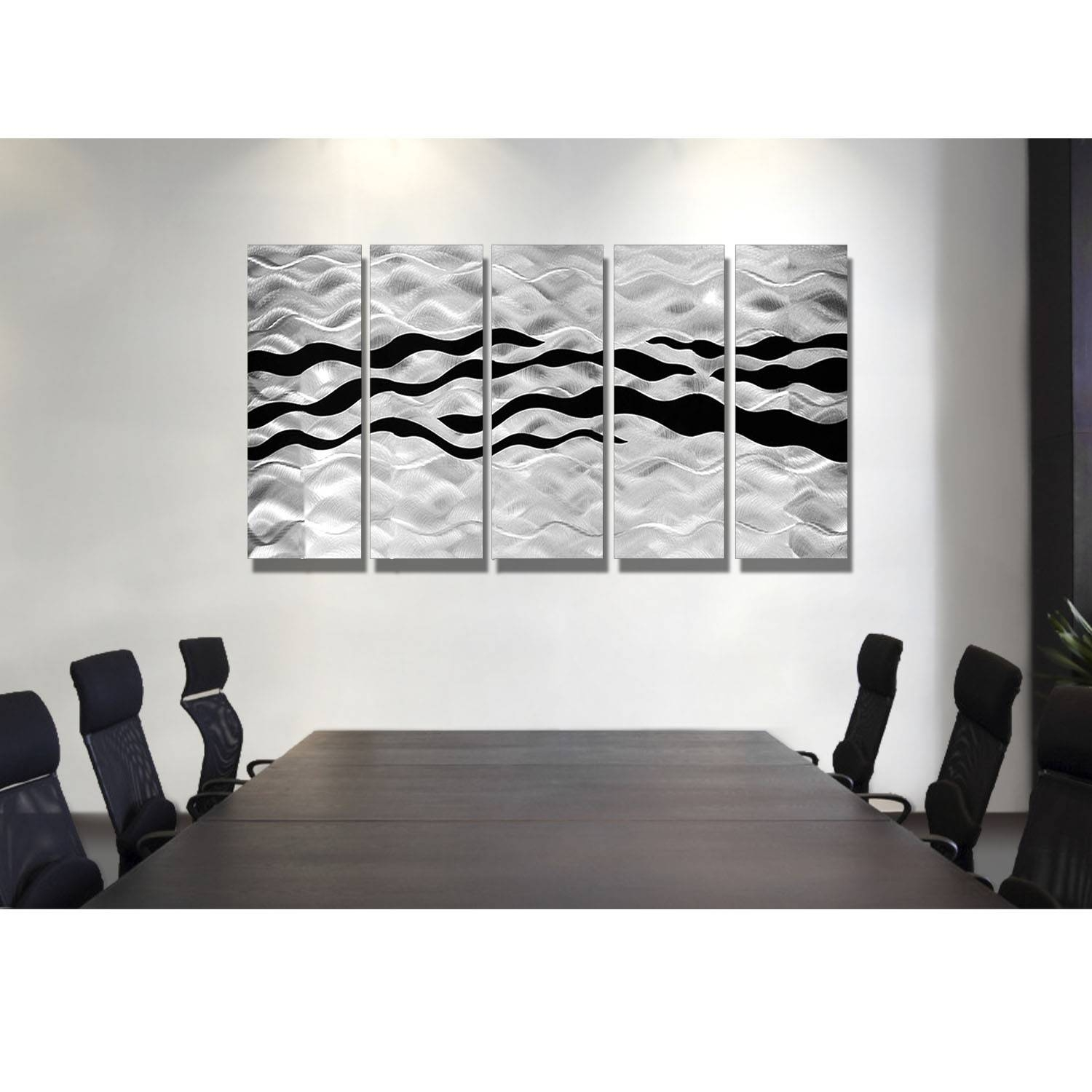 Onyx Oceana – Silver And Black Metal Wall Art – 5 Panel Wall Décor Regarding Latest Black And Silver Metal Wall Art (View 9 of 20)