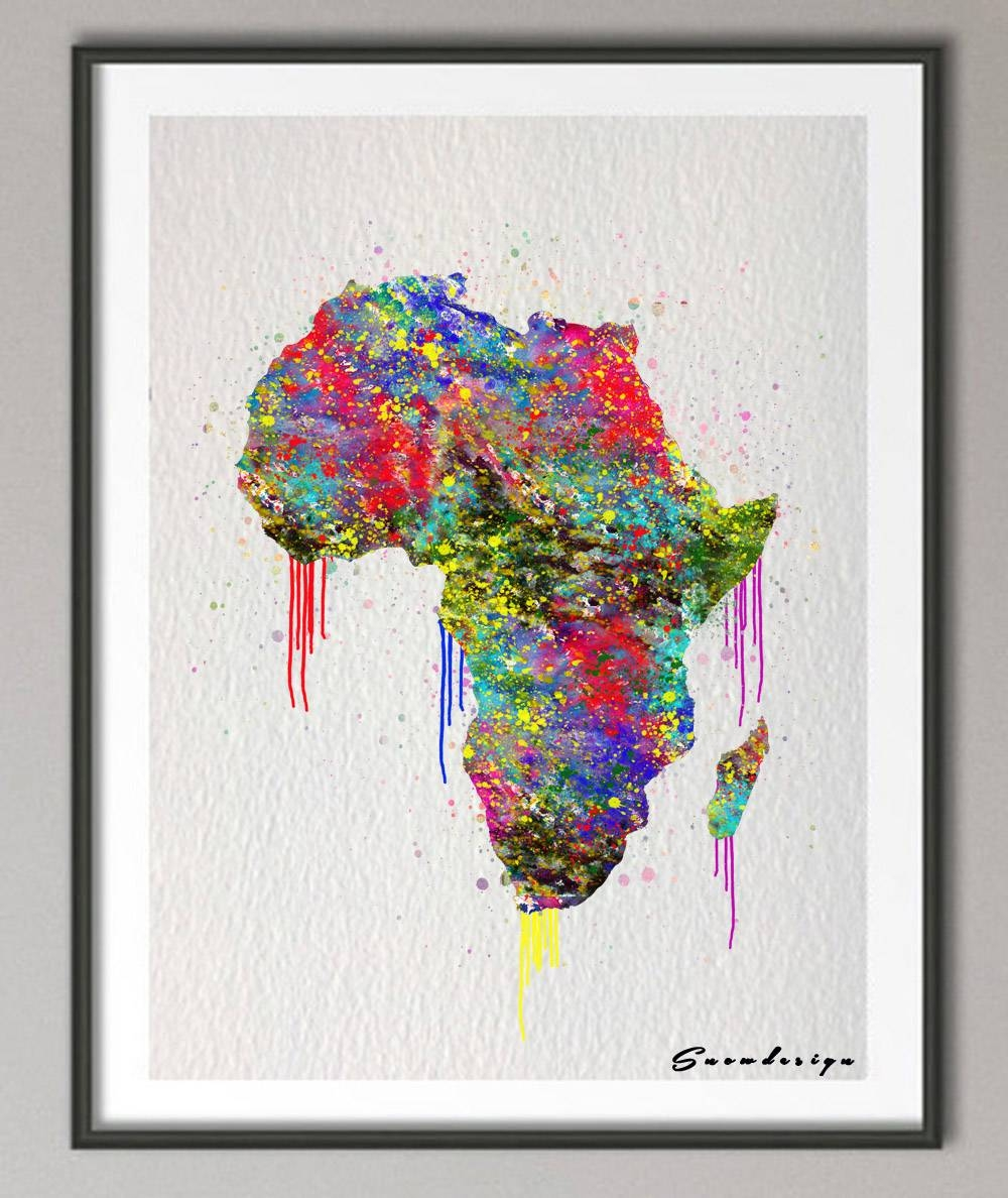 Original Watercolor Africa Map Canvas Painting Mordern Wall Art With Latest Africa Map Wall Art (Gallery 20 of 20)