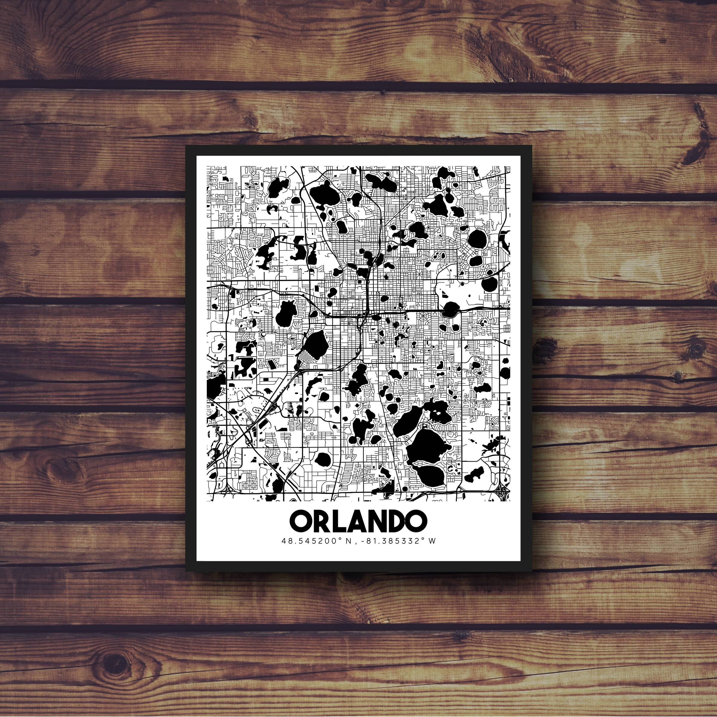 Orlando Florida Downtown Street Map Orlando Florida City Map within Most Up-to-Date Florida Map Wall Art