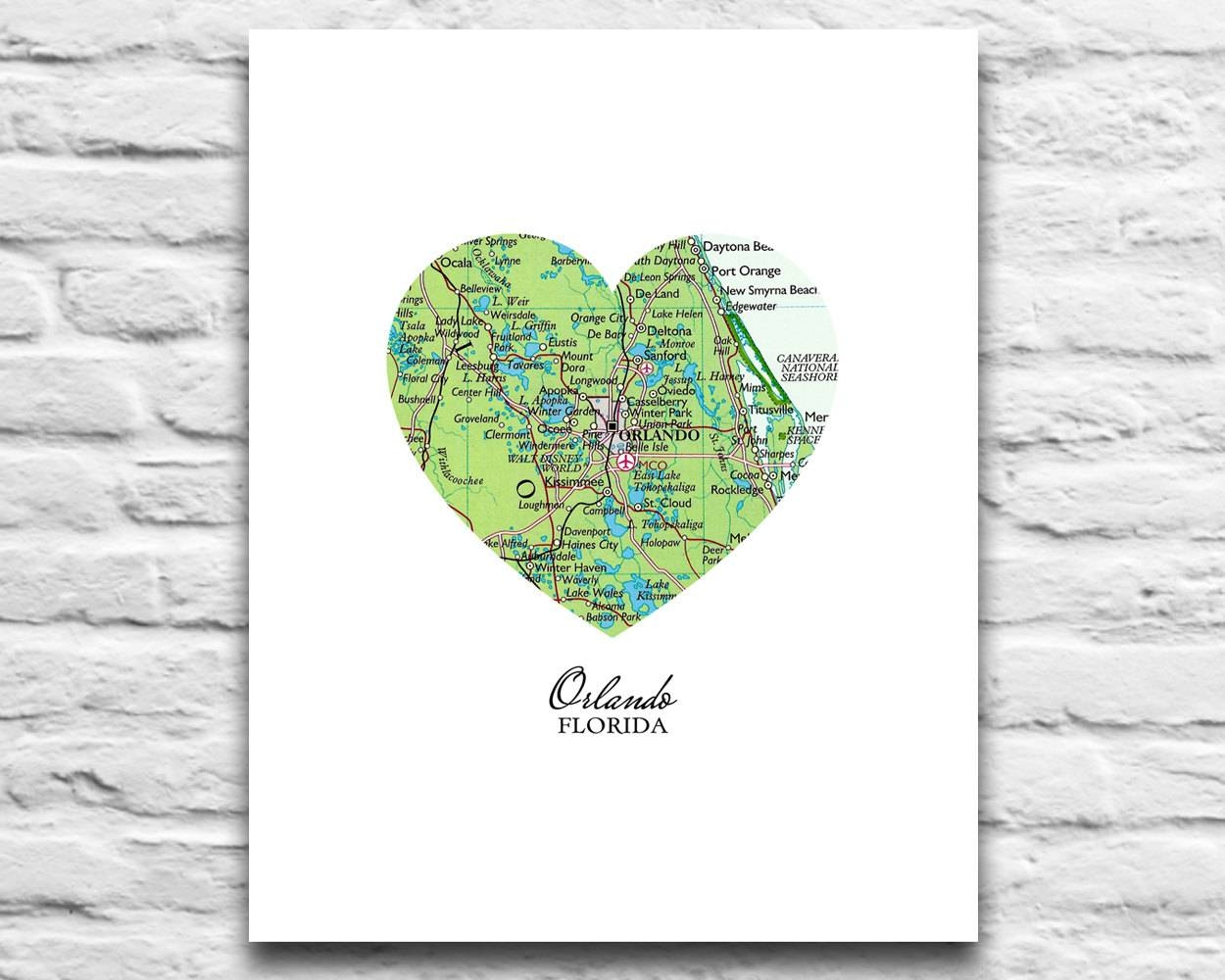 Orlando Florida Heart Map Digital Download For You 2 Print Throughout 2017 Florida Map Wall Art (View 14 of 20)