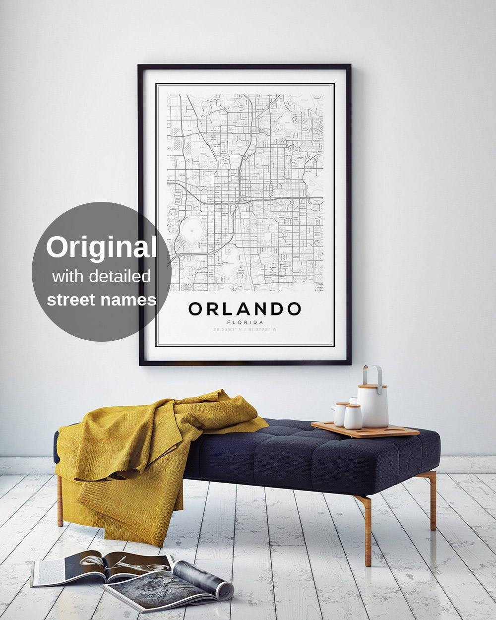 Orlando Map Print Florida City Map Fl Map Print Orlando Regarding Most Recently Released Florida Map Wall Art (Gallery 18 of 20)