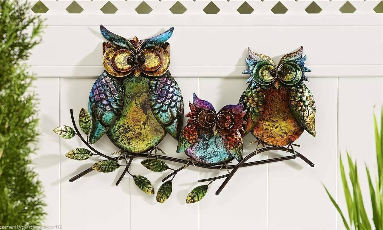 Outdoor Patio Art Extra Large Outdoor Metal Wall Art Exterior Wall In Current Owls Metal Wall Art (View 7 of 20)