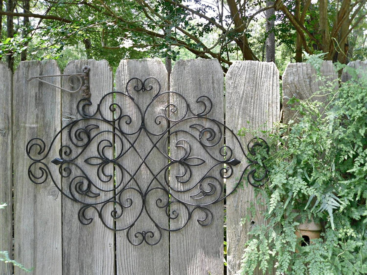 Outdoor Wall Murals For The Garden Metal Sun Wall Art Wrought Iron Within Most Recent Wrought Iron Metal Wall Art (View 11 of 20)