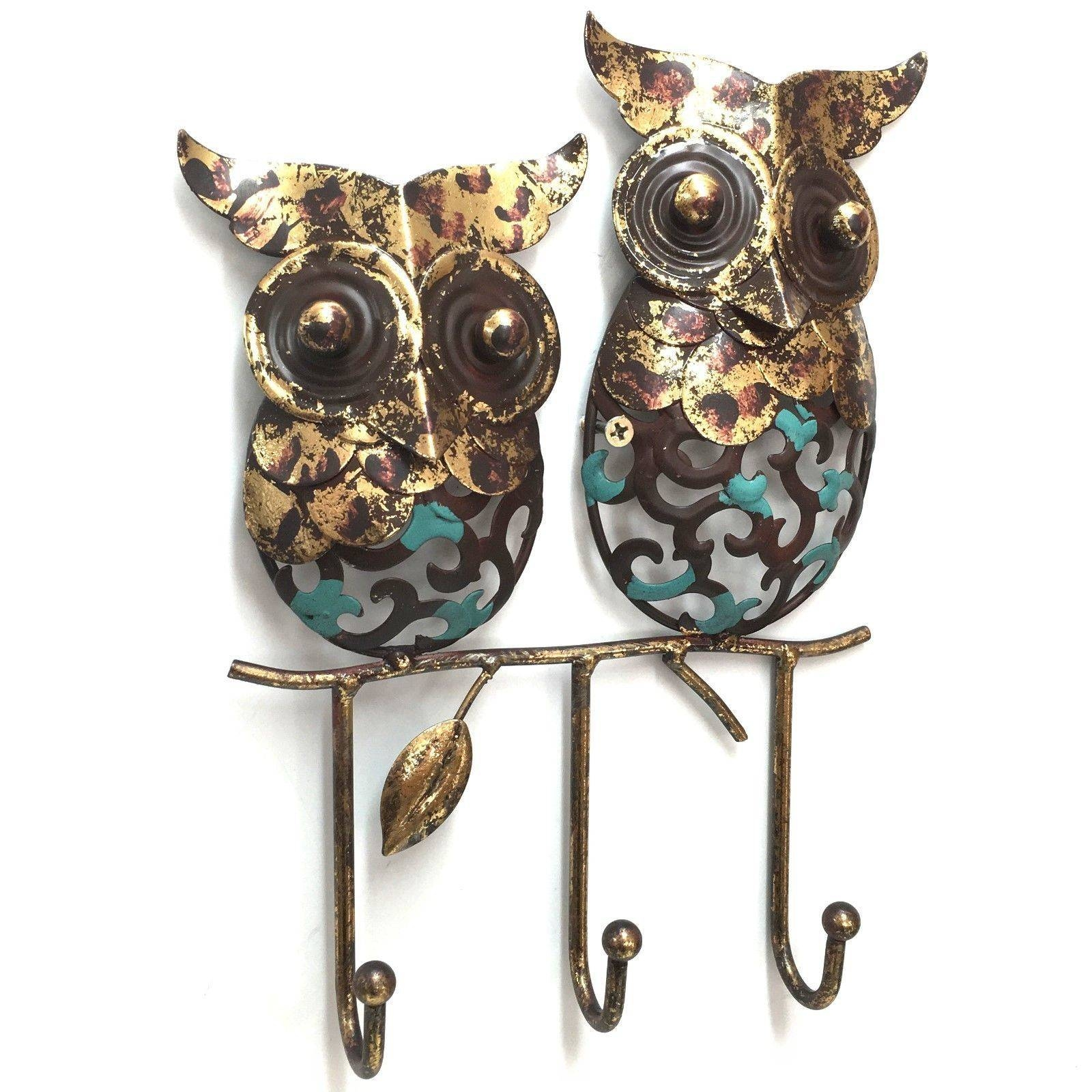 Owl Metal Wall Art Hooks Intended For Most Up To Date Owls Metal Wall Art (View 9 of 20)