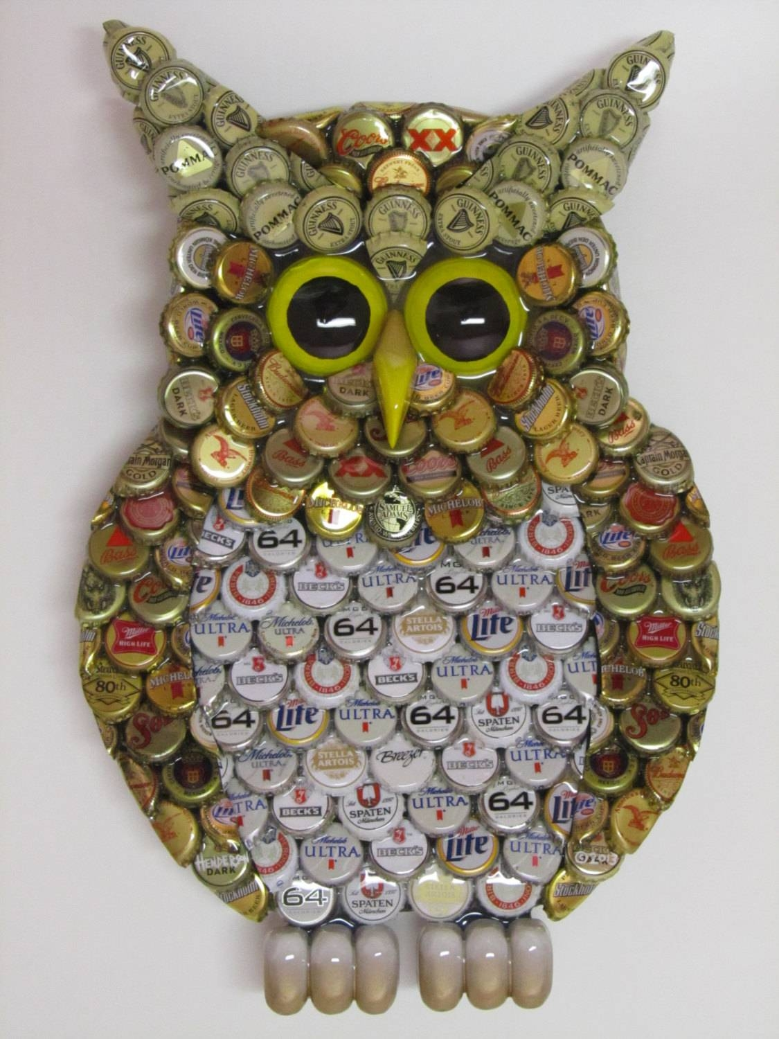 Owl Wall Art With Metal Bottle Cap Owl Sculpture With Mixed Regarding Best And Newest Owls Metal Wall Art (View 12 of 20)