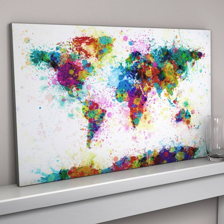 20 best ideas of abstract world map wall art paint splashes world map art printartpause regarding most recently released abstract world map wall art gumiabroncs Image collections