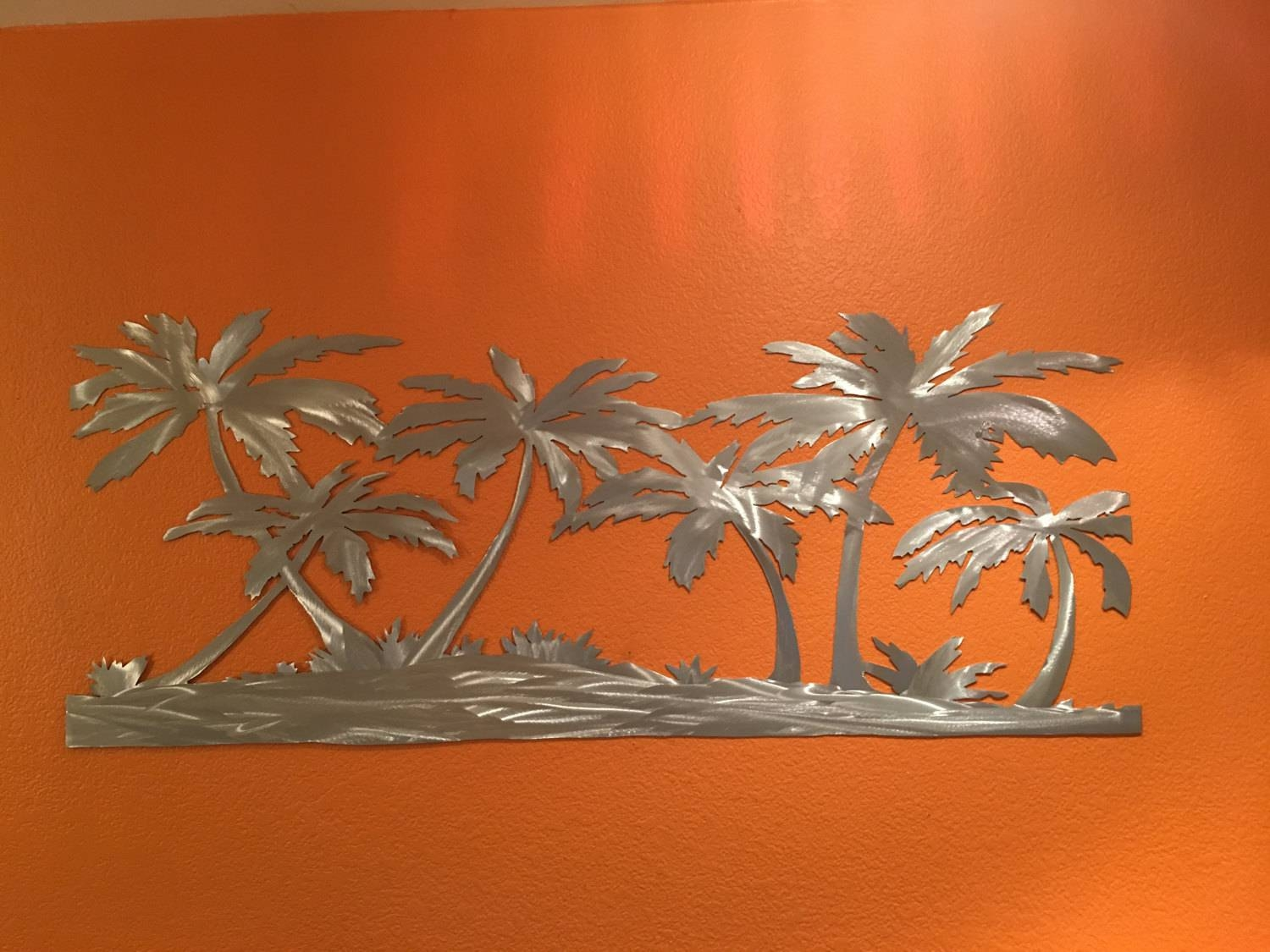 Palm Trees On The Beach Metal Wall Art. Tropical Artwork (View 3 of 20)
