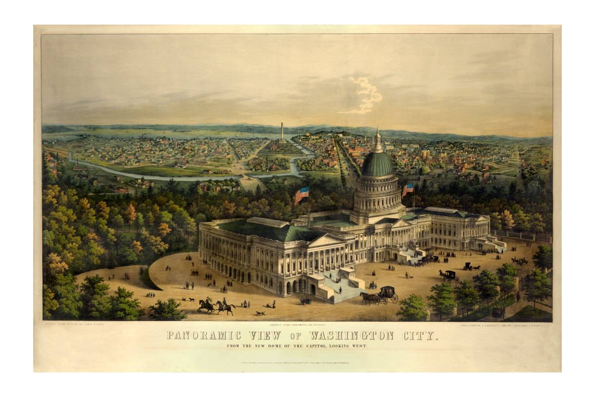 Panoramic View Of Washington Dc – Old Maps And Prints – Vintage For Most Up To Date Washington Dc Map Wall Art (View 9 of 20)