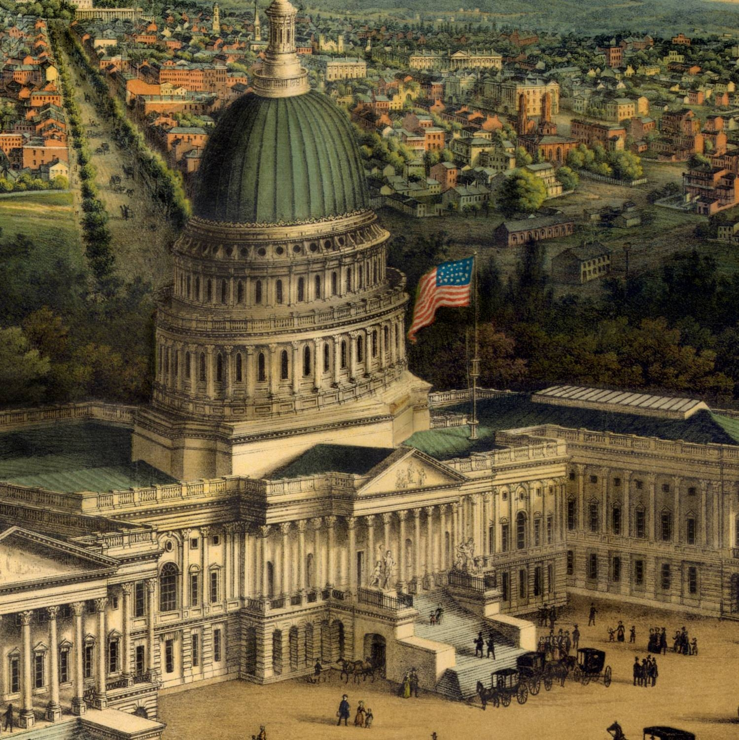 Panoramic View Of Washington Dc – Old Maps And Prints – Vintage With 2017 Washington Dc Map Wall Art (View 7 of 20)