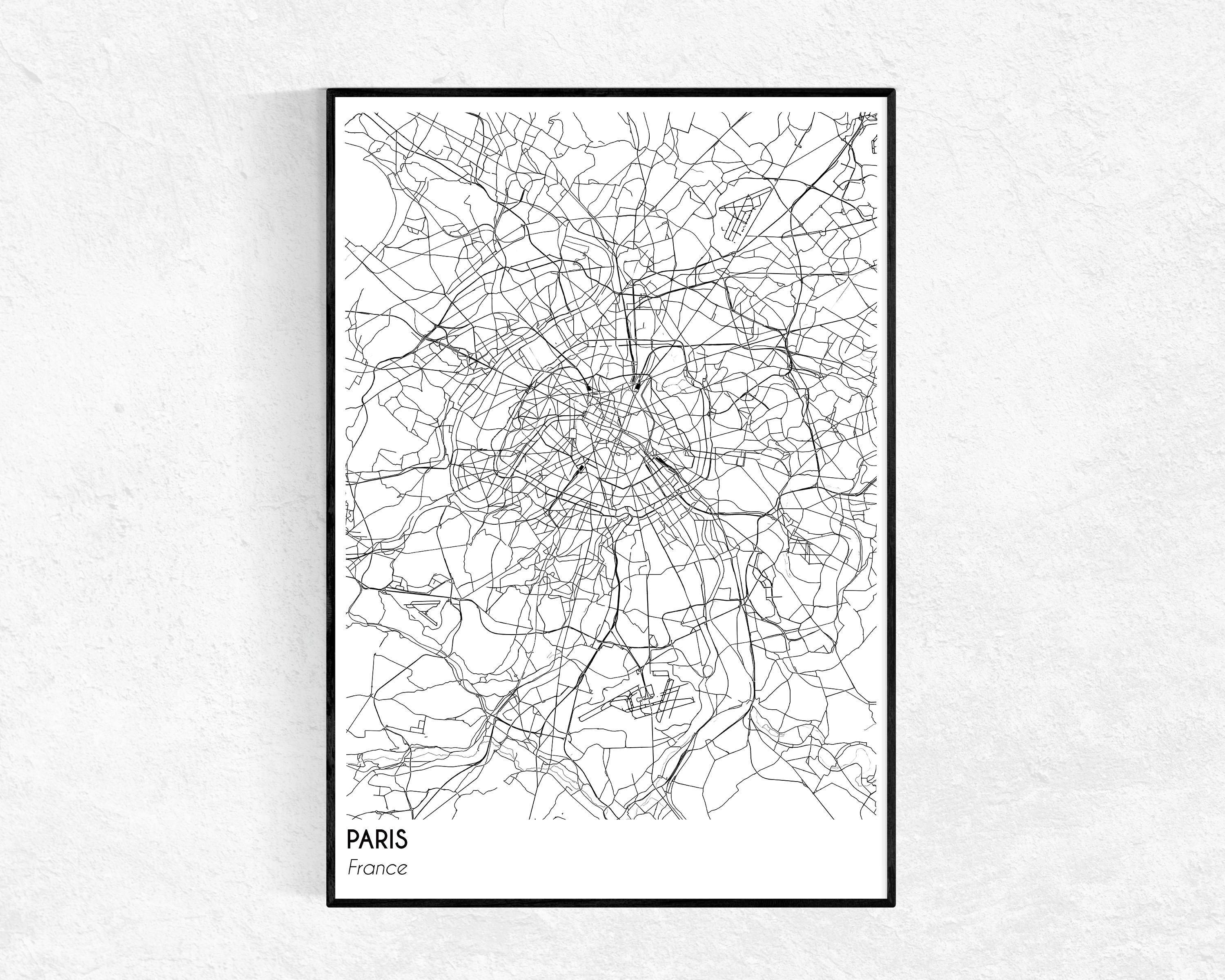 Paris City Map Print City Map Poster Paris Map Modern For Recent Paris Map Wall Art (View 15 of 20)