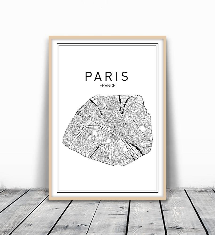 Paris Map Print City Map Wall Art Paris Map Art France In Most Popular City Prints Map Wall Art (View 4 of 20)