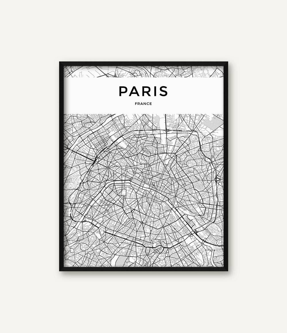 Paris Map Print Paris Print Paris Wall Art Paris Poster Within 2017 Paris Map Wall Art (View 7 of 20)