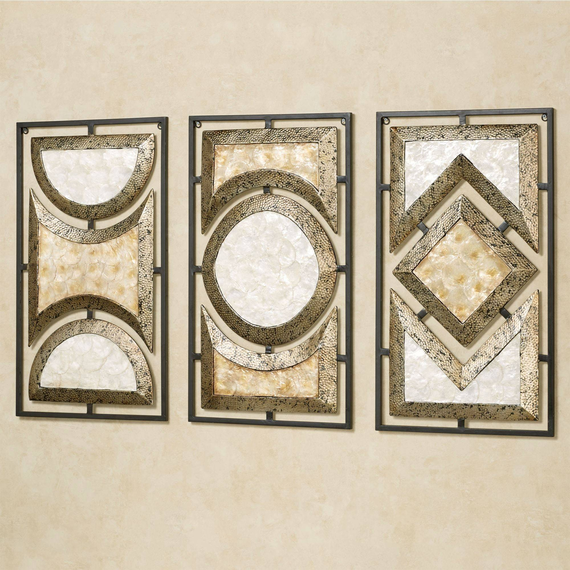 Pasquale Capiz Shell Metal Wall Art Set throughout Most Popular Metal Wall Art Sets