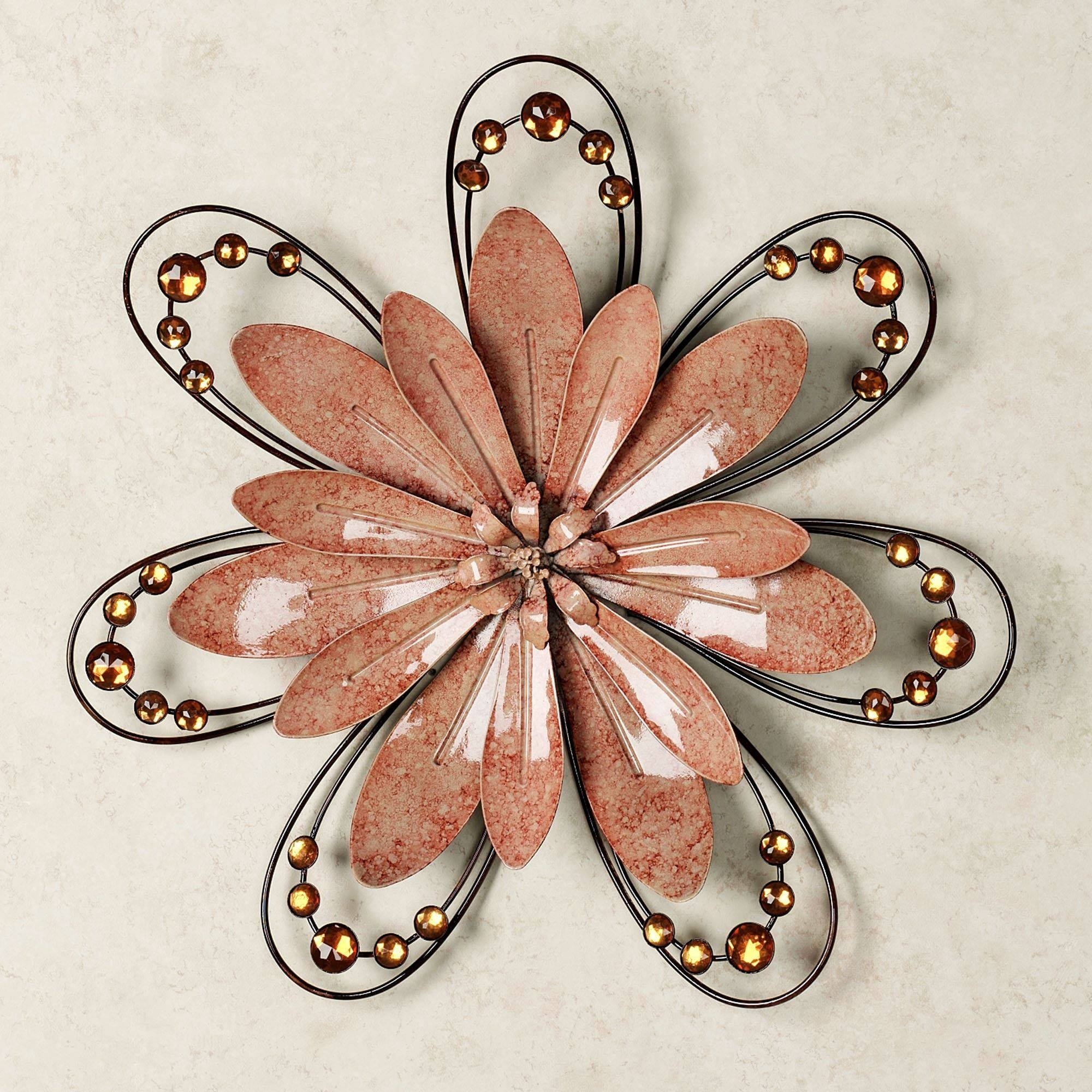 Peach Floral Gem Metal Wall Accent Within Latest Flower Metal Wall Art Decor (View 8 of 20)