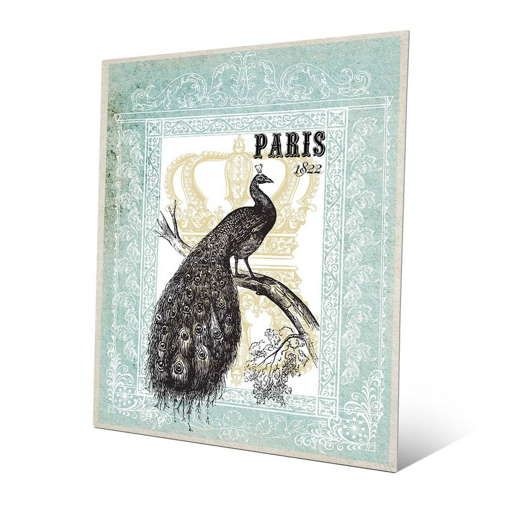 Peacock In Mint Paris Metal Wall Art | Ebay Pertaining To Most Popular Paris Metal Wall Art (View 10 of 20)