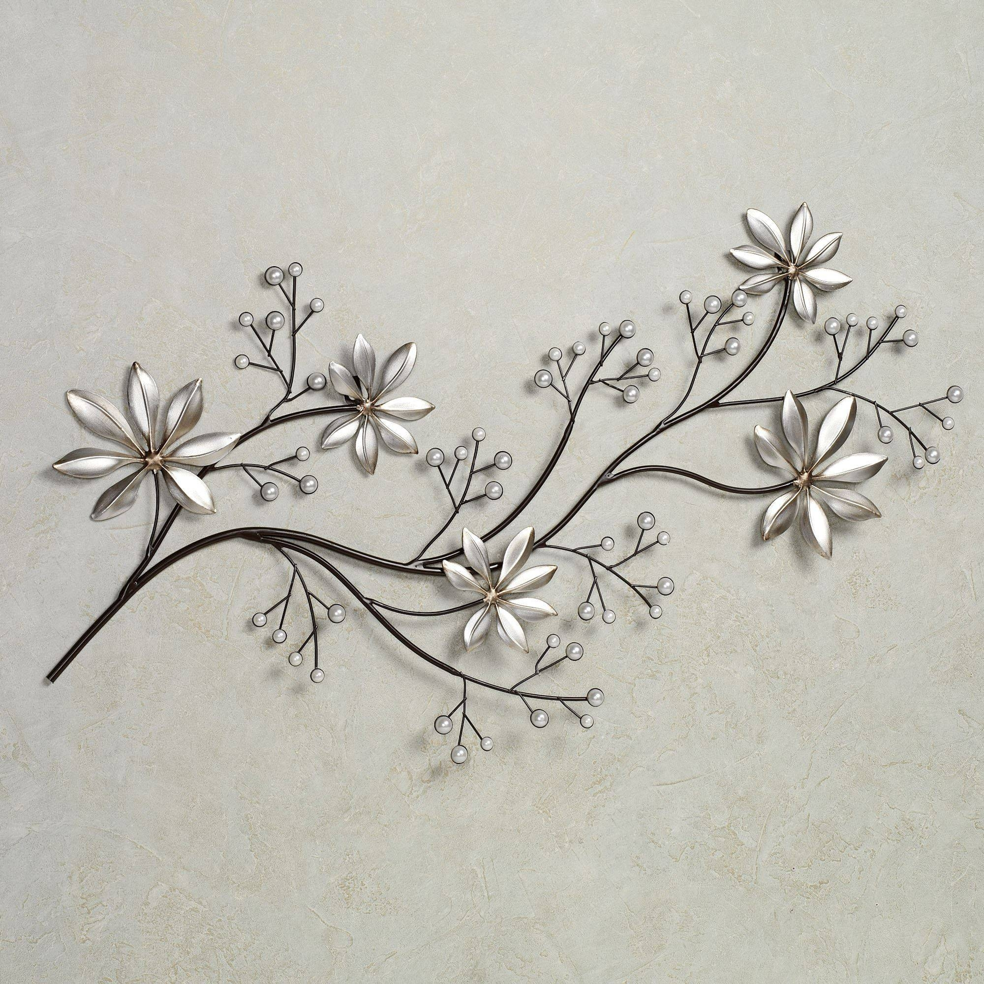 Pearl Array Floral Metal Wall Art Inside Most Popular Flower Metal Wall Art Decor (Gallery 1 of 20)
