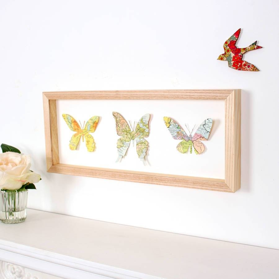Personalised Map Location Three Butterflies Wall Artbombus Inside Most Popular Butterfly Map Wall Art (View 7 of 20)