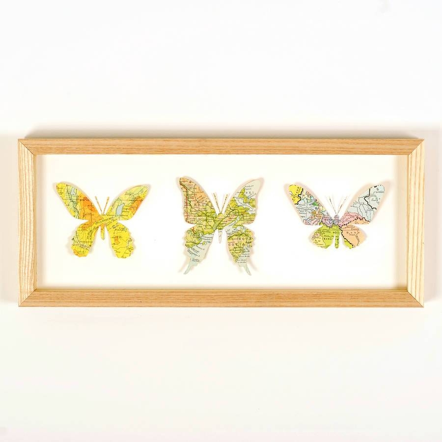 Personalised Map Location Three Butterflies Wall Artbombus Intended For Most Popular Butterfly Map Wall Art (View 8 of 20)