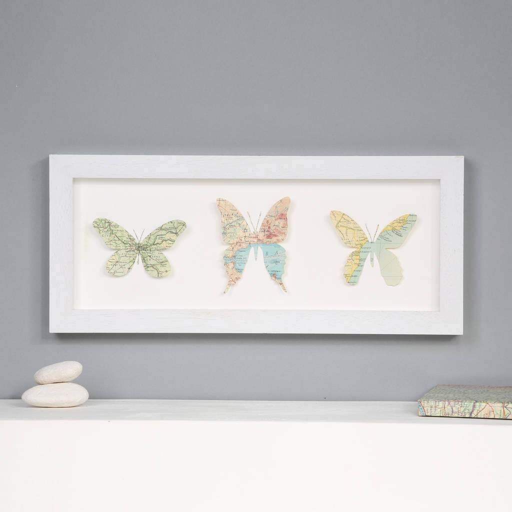 Personalised Map Location Three Butterflies Wall Artbombus Throughout Most Recent Butterfly Map Wall Art (View 4 of 20)