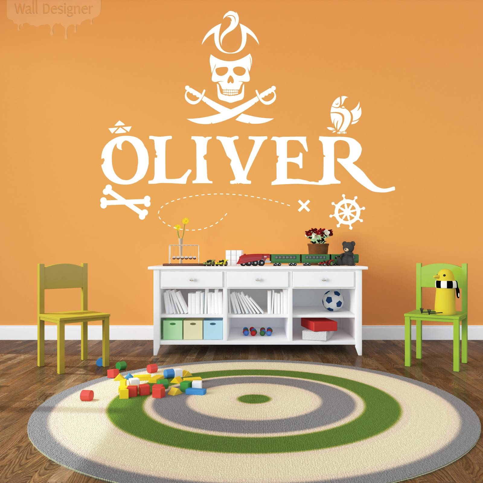 Personalised Name Boys Wall Art Sticker – Pirates, Skull, Ocean Pertaining To Newest Treasure Map Wall Art (View 12 of 20)