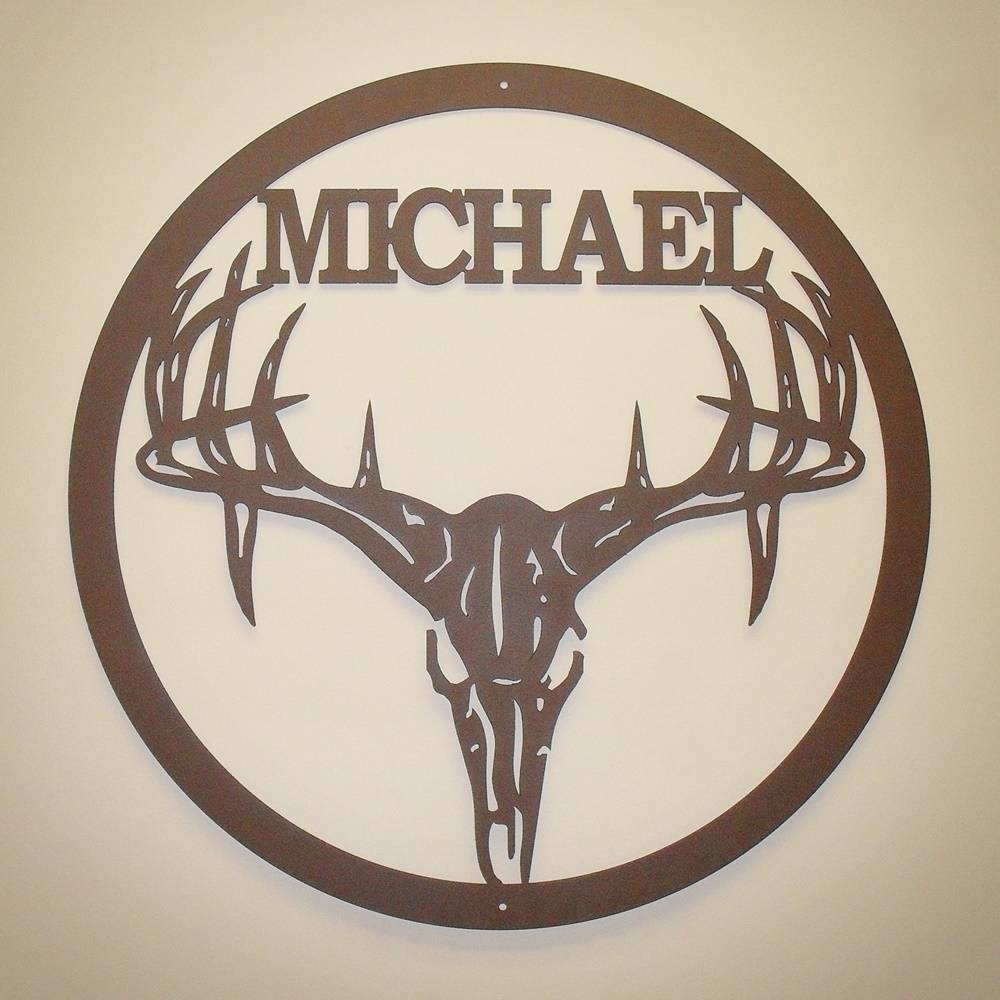 Personalized Deer Skull Metal Wall Art - Custom Metal Signs intended for Best and Newest Deer Metal Wall Art