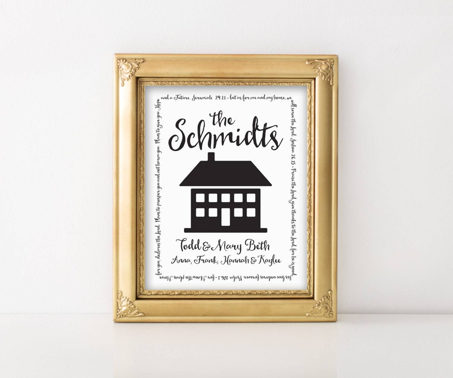 Personalized Home Print As For Me And My House Home Sweet Pertaining To  Most Recently Released