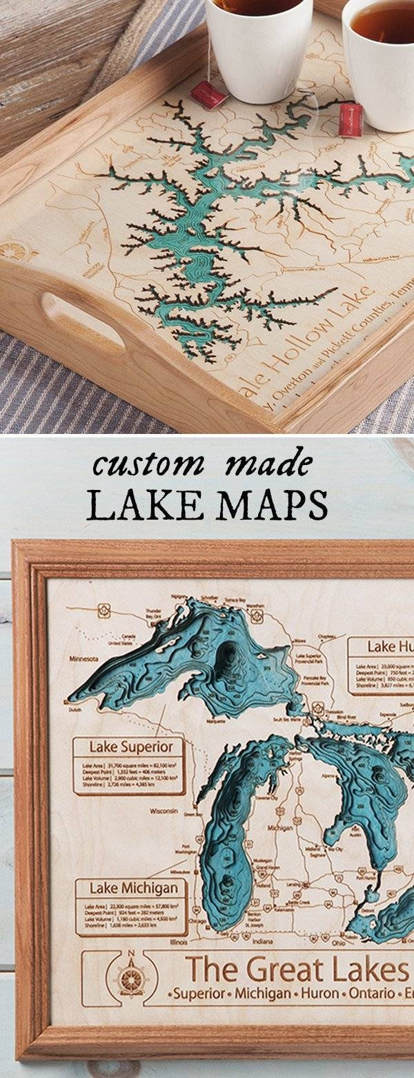 Personalized Wall Art And Cribbage Boards From Lake Art Throughout Newest Lake Map Wall Art (View 12 of 20)